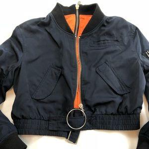 Women's Crop Style Navy Bomber Jacket